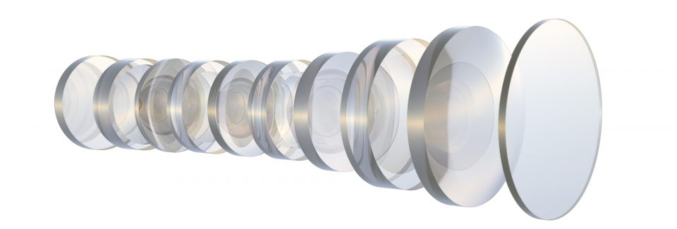 Several glass lenses. Interior camera lens . White background. in perspective